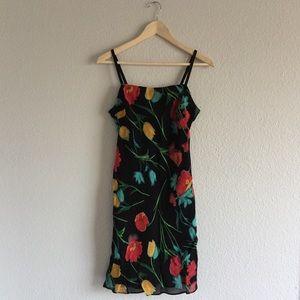 Vintage 90s Black Floral Cami Dress